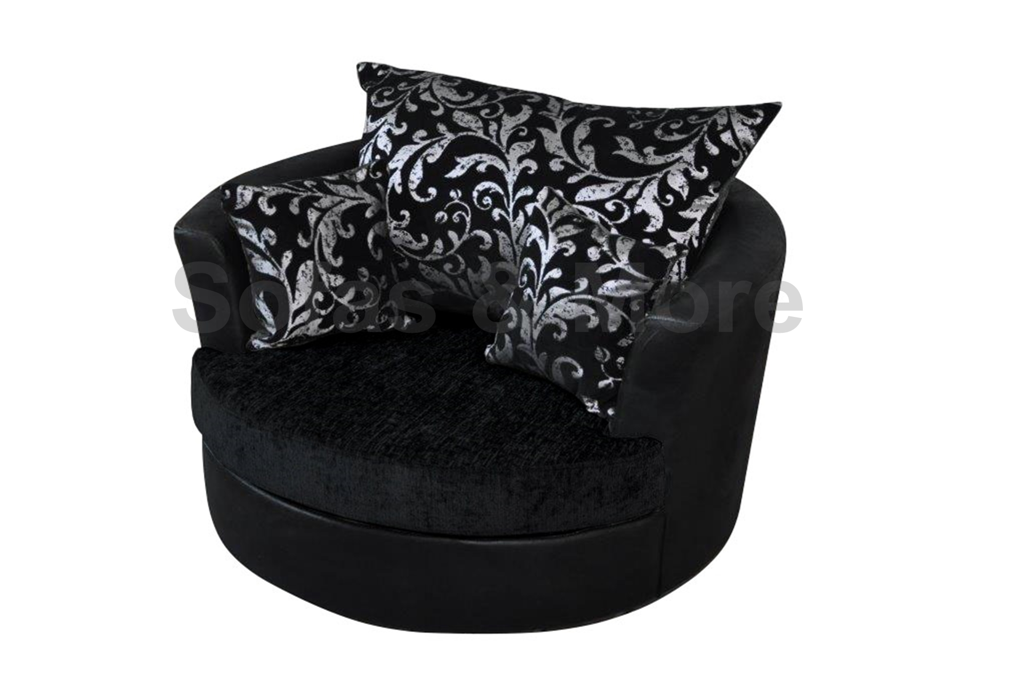 Large Swivel Round Cuddle Chair Chenille Fabric Grey Black ...