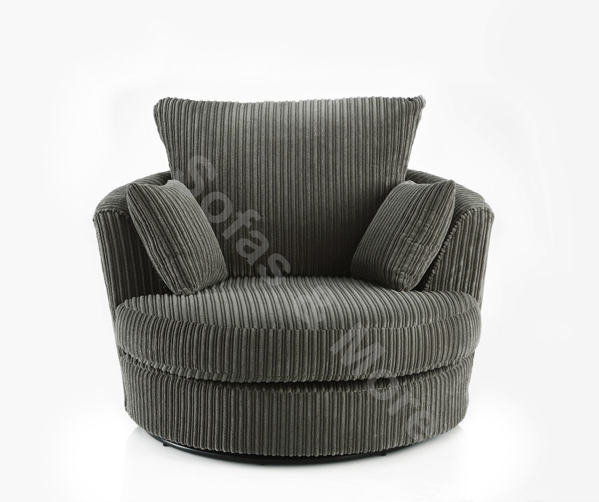 Large Swivel Round Cuddle Chair Jumbo Cord Fabric Cream ...