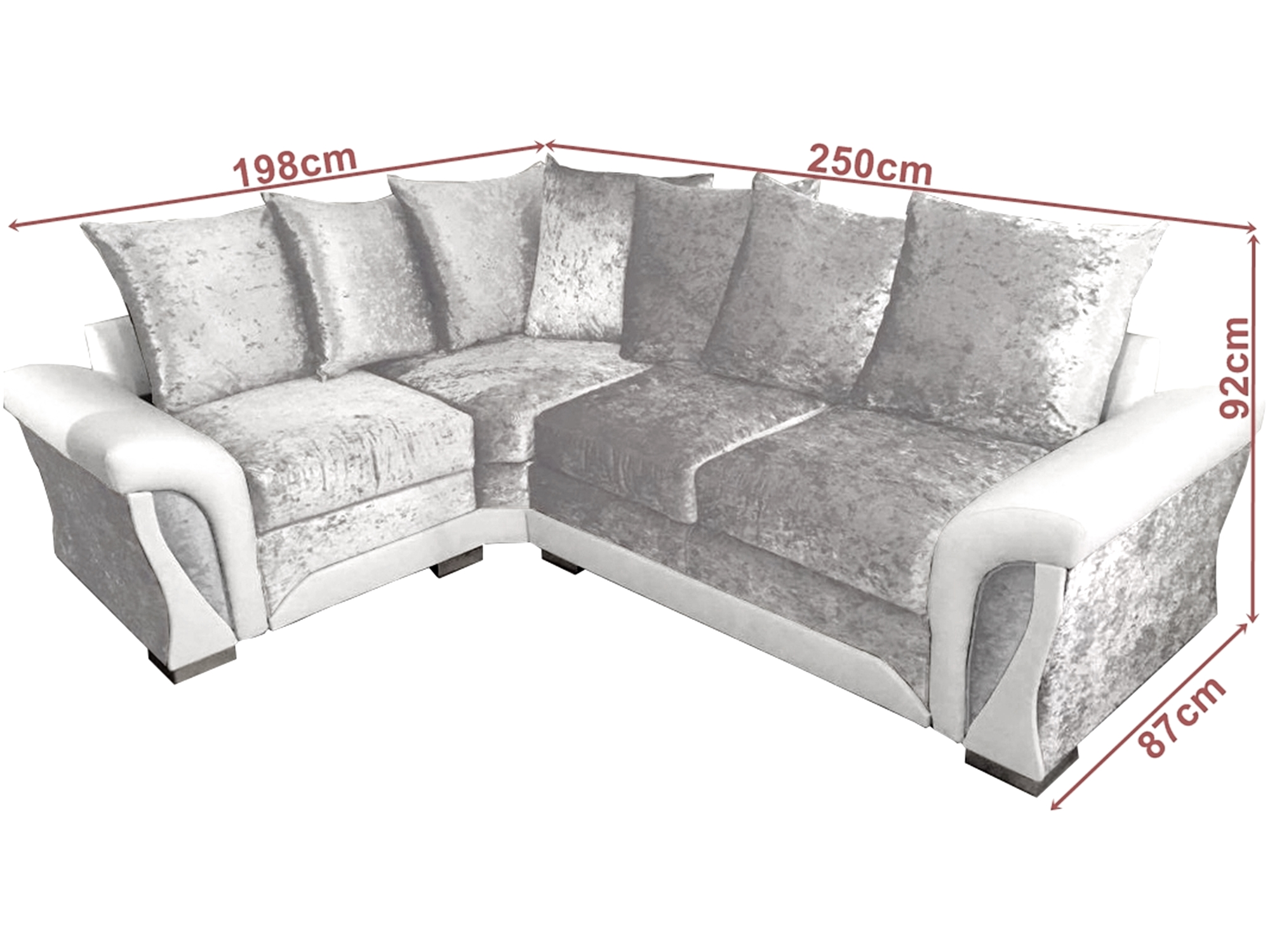 Shannon Corner Sofa Crushed Velvet Fabric 3 2 Seater